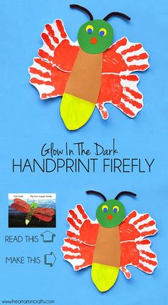 Eric Carle Inspired Glow In The Dark Handprint Firefly - I Heart Arts n Crafts - Eric Carle Inspired Glow In The Dark Handprint Firefly Estás en el lugar correcto para diy Aquí pr - Insect Crafts, Bug Crafts, Daycare Crafts, Daycare Ideas, Preschool Classroom, Classroom Ideas, Paper Crafts, Eric Carle, Art For Kids