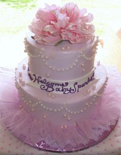 Pretty Pink and Purple Baby Shower Cake or a princess birthday cake!