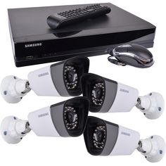 Samsung SDS-P3042 4-Channel 500GB DVR Home Security System w/4 Night-Vision & Weatherproof 720 Line Resolution Cameras