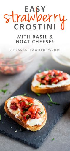 Easy Strawberry Crostini - This delicious strawberry crostini recipe is perfect for summer entertaining! Creamy goat cheese and a simple strawberry salsa with fresh basil and balsamic are layered on crispy french bread and topped with a drizzle of honey.