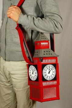 Big Ben Tower Red Felt Bag by krukrustudio on Etsy