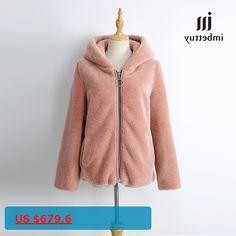 IMBETTUY Womens Winter Tick Warm Natural Fur Genuine Real Wool Lamb Fur Coat/Jacket with Fur Hood