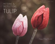 Crochet Tulip Pattern and Instructions - Crochet Flower Pattern - Crochet Pattern for a Bouquet or Home Decor - Valentine's Gift Idea