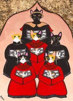 Chinese Family Tree of Cats Original Folk Art Painting