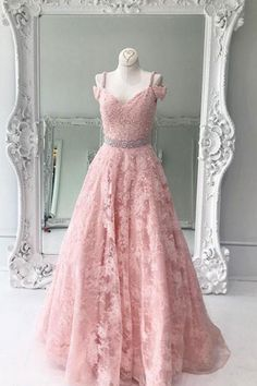 Charming Prom Dress,Lace Prom Dress, A-lIne Dress,V-Neck Evening Dress
