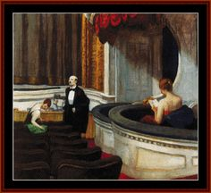 Two on the Aisle - Edward Hopper cross stitch pattern by Cross Stitch Collectibles.