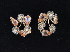 Schreiner vintage rhinestone earrings rare by VintageJewelryMagic