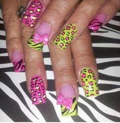 Zebra leopard print nails