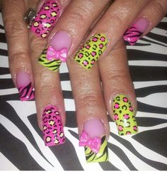 Zebra leopard print nails