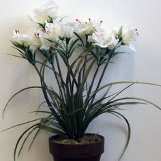 89 best artificial plants flowers images on pinterest in 2018 homescapes white alstromeria in a brown ceramic pot 42 cm artificial flowers and plants mightylinksfo