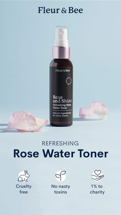 Made With Natural Ingredients. This everyday rose water toner uses naturally-sourced rose petals to give you perfectly hydrated skin. Plus, it cleans dirt, and helps to temporarily tighten pores. 🐰 Cruelty-Free 🌿 No Nasty Toxins 🌎 1 Donated Natural Rose Water, Natural Toner, Natural Face, Skin Toner, Facial Toner, Beauty Care, Beauty Makeup, Wedding Makeup Tutorial, Glitter Lip Gloss