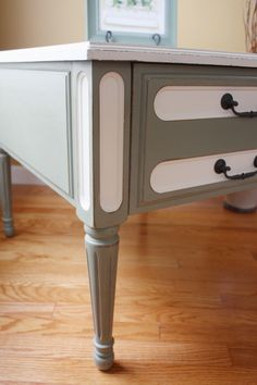 End table painted in Chateau Grey & Old White. The hardware is painted in Graphite for contrast.