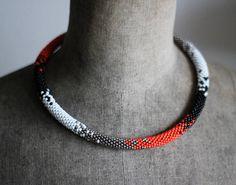 Elegant Bead Crochet Necklace Black Orange and Silver