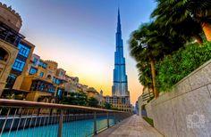 Towering above the Souq Al-Bahar and the adjacent Dubai mall, the Burj Khalifa stands at 2,722 feet tall.