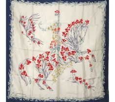 Hermes Floral Horse Eperon d'Or Silk Scarf by Henri d'Origny