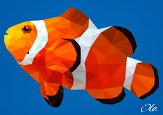 Low poly nemo clownfish fish