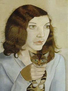 Girl with a kitten. Lucian Freud