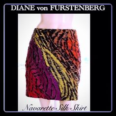 "✅🐝 DvF Silk Skirt NWOT 🎉2 X HOST PICK🎉8/24-10/9 🎉TwoX HOST PICK🎉8/24-10/09  DVF NWOT multi color print silk chiffon, fully lined mini skirt sz 8, 17"" long. Bright colors swirl skirt circular diagonal, angled pleating, side rusching creates draping, invisible zipper, hook-&-eye. Last 2 pics internet collage; sold out Nordstrom, Polyvore & Mytheresa. Noted by Coolspotters, Blue Fly, & Pop-sugar. Retails $375. Difficult to find & buy. Professionally Authenticated…"