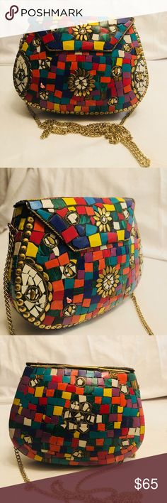 Multicolor Gypsy Boho Metal Clutch Purse Handmade Vintage style Clutch bag made by Brass Metal .Lakh , Brass work on Metal frame and stone studded on it in mosaic pattern . Inner side is fabric coated.Long Metal chain which gives it Sling bag look also.Party wear look and this unique look bag can Accommodate Cellphone and other small accessories, Design in purpose to give attractive attention in Function,Party Size: Lenth 7.5 Inch, Width 2.5 Inch, Hight 5 .5Inch,gift with each purchase! Bags…