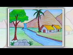 How to draw simple scenery for kids Scenery Drawing For Kids, House Drawing For Kids, Drawing Lessons For Kids, Easy Drawings For Kids, Drawing For Beginners, Painting For Kids, Easy Nature Drawings, Scenary Paintings, Village Drawing
