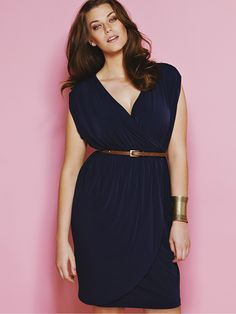 jersey dress. I don't usually like belts on plus sized fashions, but as this one is skinny and not a contrast to the dress, it works. Of course it helps that she actually has a proportionately correct size waist, which I, alas, do not.