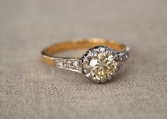 ON LAYAWAY! Antique Yellow Diamond Engagement Ring with Buttercup Head and Filigree Gold Setting on Etsy, $1,750.00