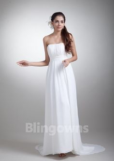 Sweep Ruched Chiffon White A-line Sleeveless Strapless Open Back Wedding Dresses
