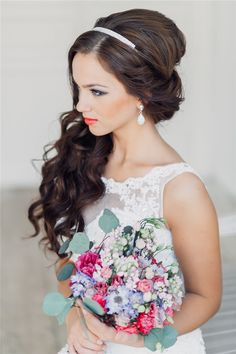 long half up wavy wedding hairstyle with headpiece