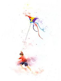 Giclee Print: Boy And Kite by Rachel McNaughton : Watercolor Cards, Watercolor Illustration, Watercolor Paintings, Kite Tattoo, Easy Drawings, Lovers Art, Giclee Print, Art Prints, Find Art