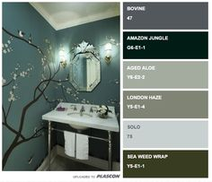 Floral Bathroom design with Cherry Blossom tree  vinyl.  Paint colours to match.