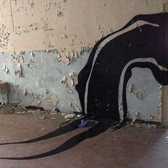 Herbert Baglione paints Ghostly Shadows in Abandoned Psychiatric Hospital