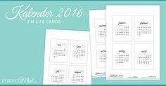 Kostenlose Kalender in 3x4 inch für Project Life und eine bessere Übersicht im Filofax / kikki-k / Happy Planner. Deutsche Monatsnamen.