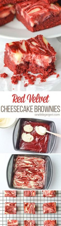 These red velvet cheesecake brownies are AMAZING! Perfectly marbled with creamy . - These red velvet cheesecake brownies are AMAZING! Perfectly marbled with creamy cheesecake filling, - Köstliche Desserts, Delicious Desserts, Yummy Food, Healthy Desserts, Amazing Dessert Recipes, Easy Desserts For Kids, Finger Desserts, Summer Dessert Recipes, Italian Desserts