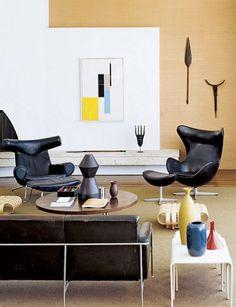 Ox Chair, Pink Desk Chair, Oscar Niemeyer, Hans Wegner, Arne Jacobsen, Living Room Photos, Living Spaces, Living Rooms, Architectural Digest