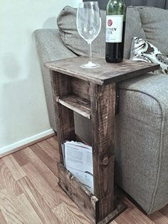 REAL HARD WOOD Sofa Chair Arm Rest Table Stand with Shelf and Storage Pocket for Magazine