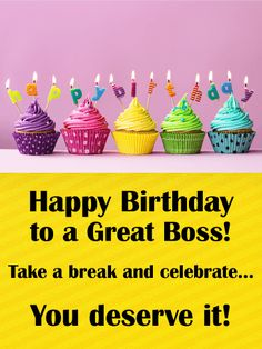 10 best birthday cards for boss images on pinterest anniversary send free rainbow cupcake happy birthday card for boss to loved ones on birthday greeting cards by davia its free and you also can use your own m4hsunfo