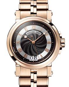 Breguet Marine Black Dial 18kt Rose Gold Automatic Men's Watch 5817BRZ2RV0