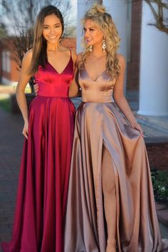 Eleagnt A-line Straps Red/Champagne Long Prom Dress