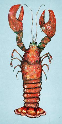 Lobster on Blue by Eli Halpin