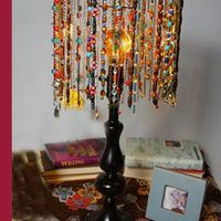 Do you love bold colors, beads and your very own style? Then you will enjoy making a beaded lampshade with a Bohemian look. And guess what? It's more fun, more creative, and less tedious than making the traditional beaded shade on a network of wires. Choose your favorite colors, beads and charms, and let them dangle and catch the light. Scatter...