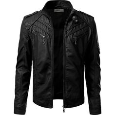 IDARBI Mens Leather Look Motorcycle Rider Bomber Jacket ($65) via Polyvore featuring men's fashion, men's clothing, men's outerwear, men's jackets, mens faux leather motorcycle jacket, mens bomber jacket, mens fake leather jacket, mens blouson jacket and mens faux leather bomber jacket