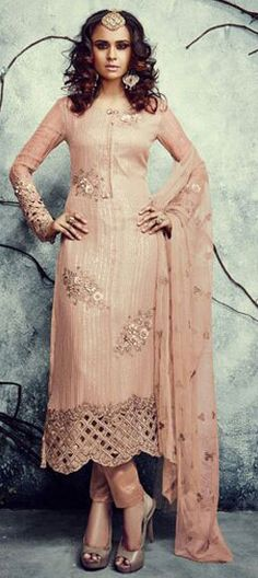 453419: Beige and Brown color family semi-stiched Party Wear Salwar Kameez .