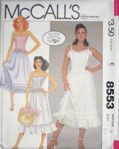 McCalls Misses LAURA ASHLEY Camisole Ruffled Skirt Petticoat Pattern 8553 UC s8