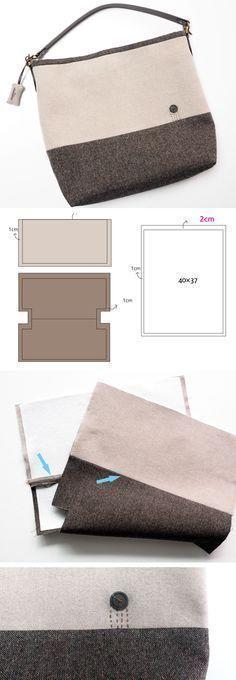 How to Make a Tote Bag This simple fabric bag is ideal for your laptop. How to Make a Tote Bag This simple fabric bag is ideal for your laptop. Sacs Tote Bags, Diy Bags No Sew, Diy Bags Purses, Diy Handbag, Tote Pattern, Pattern Sewing, Backpack Pattern, Craft Bags, Fabric Bags