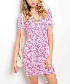 Look at this #zulilyfind! Hot Pink & Ivory Damask Bodycon Dress #zulilyfinds