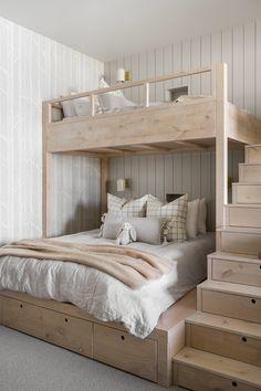 Room Design Bedroom, Girls Bedroom, Bedroom Decor, Bedrooms, Chambre Nolan, Bunk Bed Rooms, Bunk Beds Small Room, Guest Suite, Bed Styling