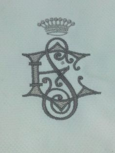 $20 French pique guest towel with regal  2 letter monogram and crown.