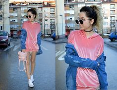 Get this look: http://lb.nu/look/8594759  More looks by Marija M.: http://lb.nu/stylesensemoments  Items in this look:  Gamiss Pink Velvet Hoodie, Chicme Long Denim Jacket, Converse White Sneakers, Zaful Sunglasses, Zaful Choker Necklace   #casual #sporty #street #ootd #outfit #style #fashion #trend #90s