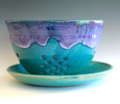 Large Berry Bowl Ceramic Colander by ocpottery on Etsy, $45.00