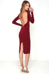 You'll be catching kisses left and right when you strut your stuff in the Va Va Voom Wine Red Backless Midi Dress! Curve-loving stretch knit hugs your figure from a high, rounded neckline down to a midi-length hem. Long sleeves frame an ultra-deep V (with hidden V-bar for added structure) at back that dips low to shows off your sexy side. Kick pleat at back.